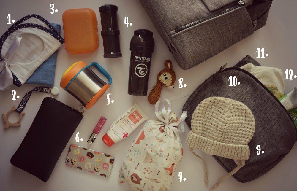Kaj je v moji previjalni torbi Stokke?